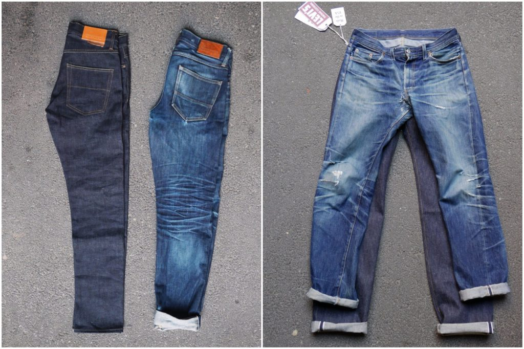 """A couple of the """"perfect"""" jeans that Meadow have sold. The fade speaks for itself; the owners love these jeans."""
