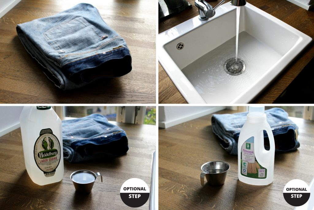 How do hand-wash jeans steps 1 to 4