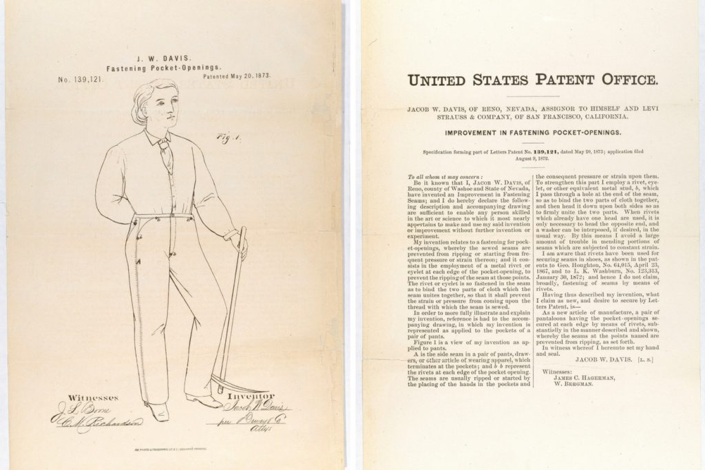 Jacob W. Davis patent for rivets