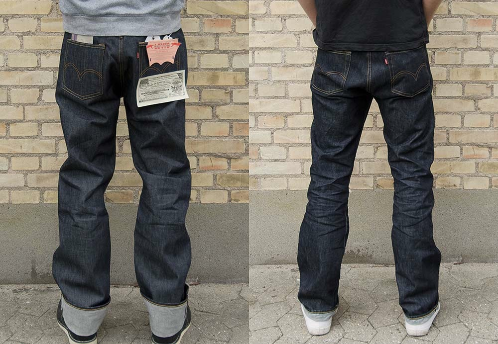 Levi's LVC 1944 501 shrink to fit before and after