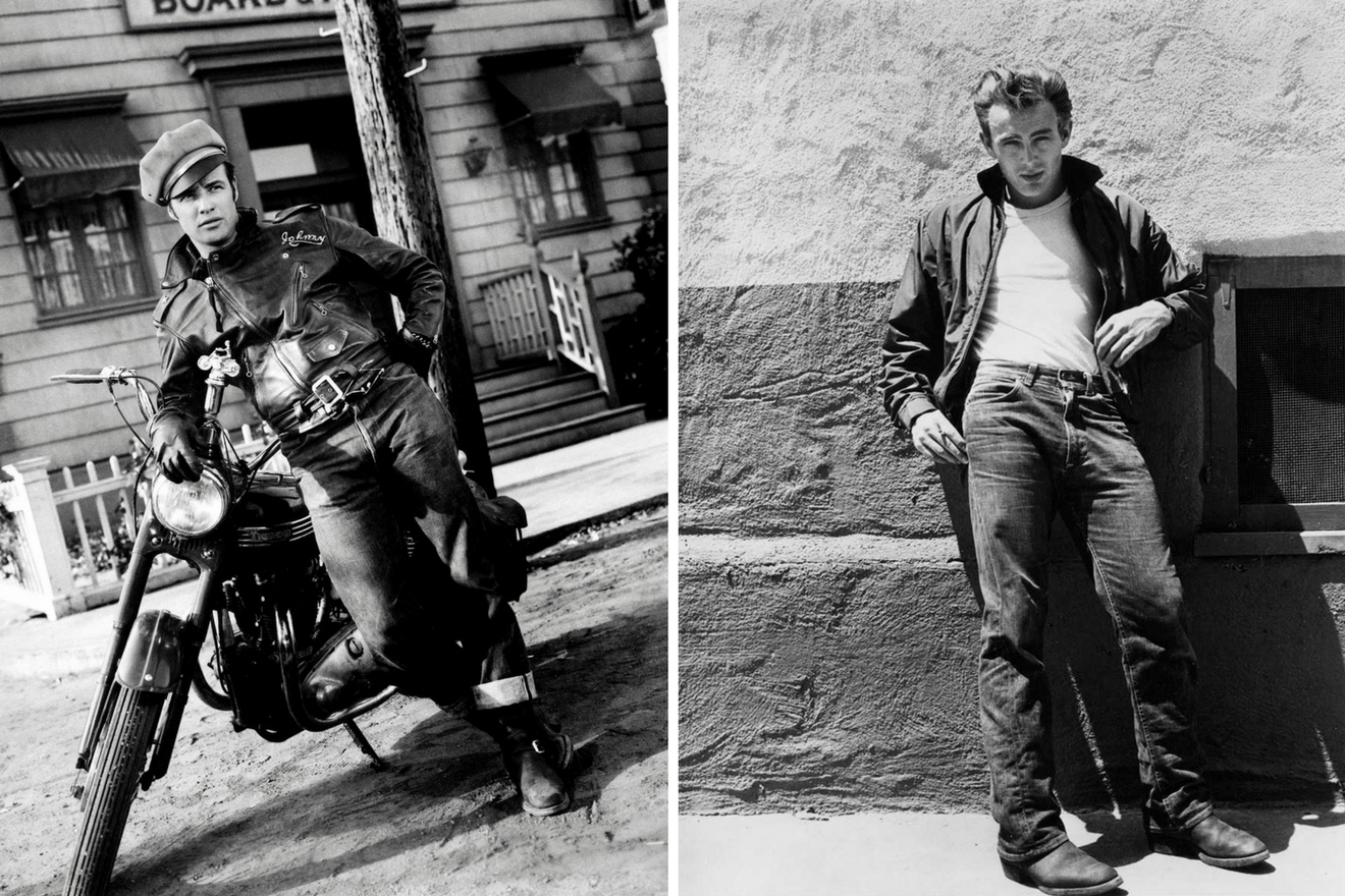 Marlon Brando and James Dean in jeans