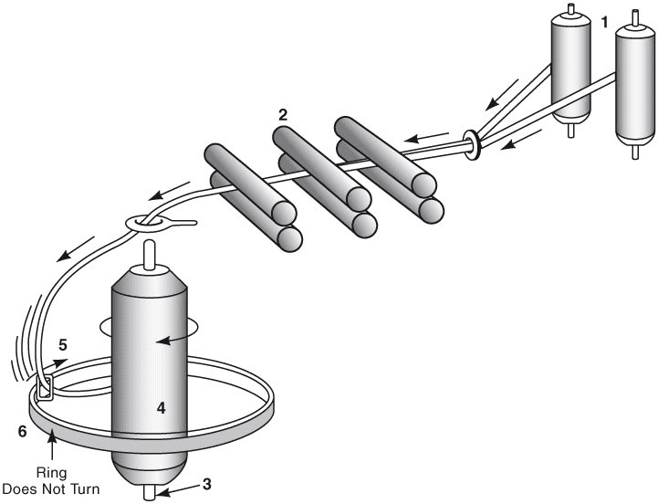Ring spinning process graphically illustrated