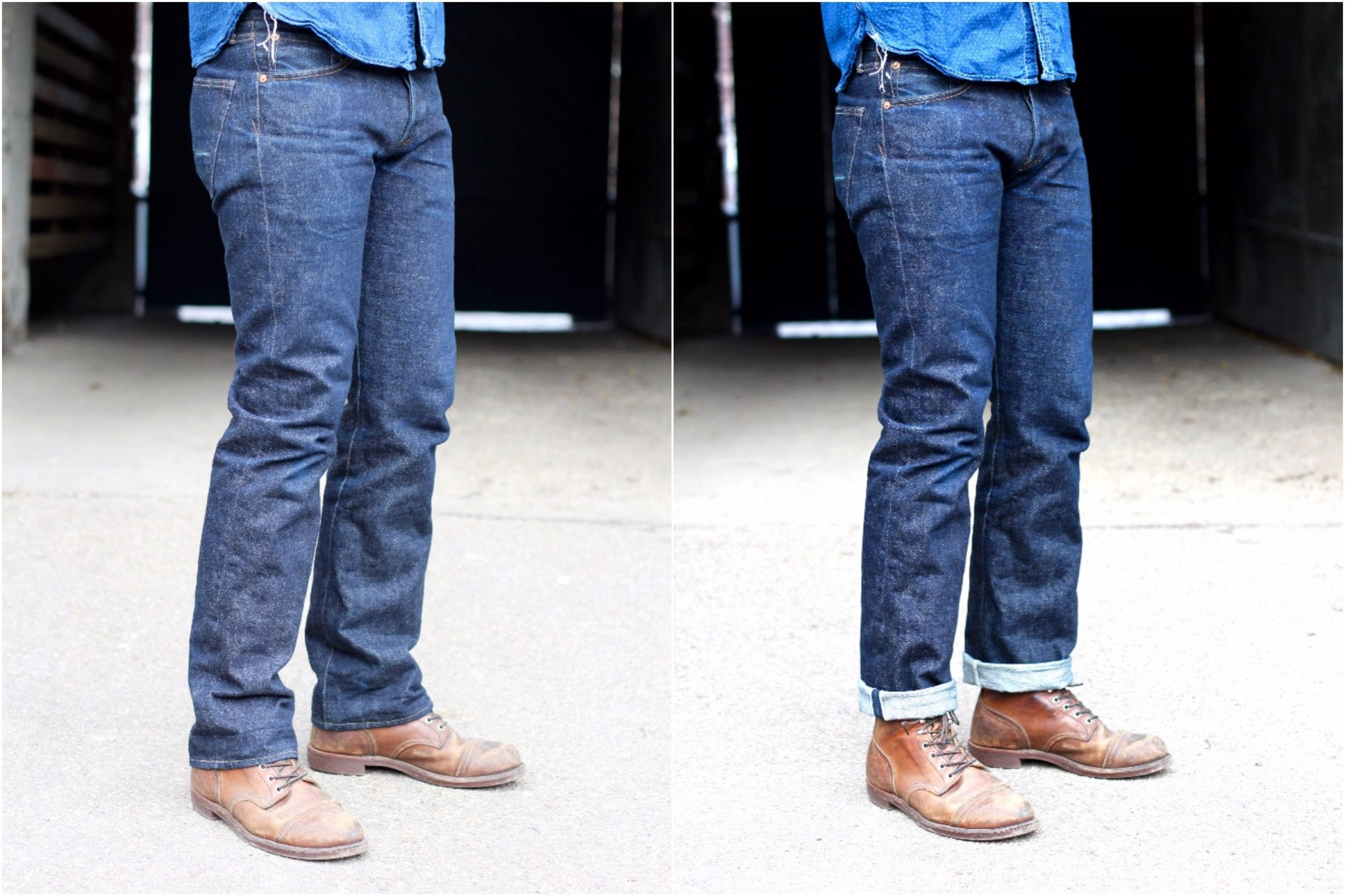 Regular fit Indigofera Clint jeans, side comparison with and without cuff