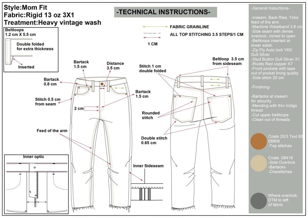 Technical sketch for designing jeans