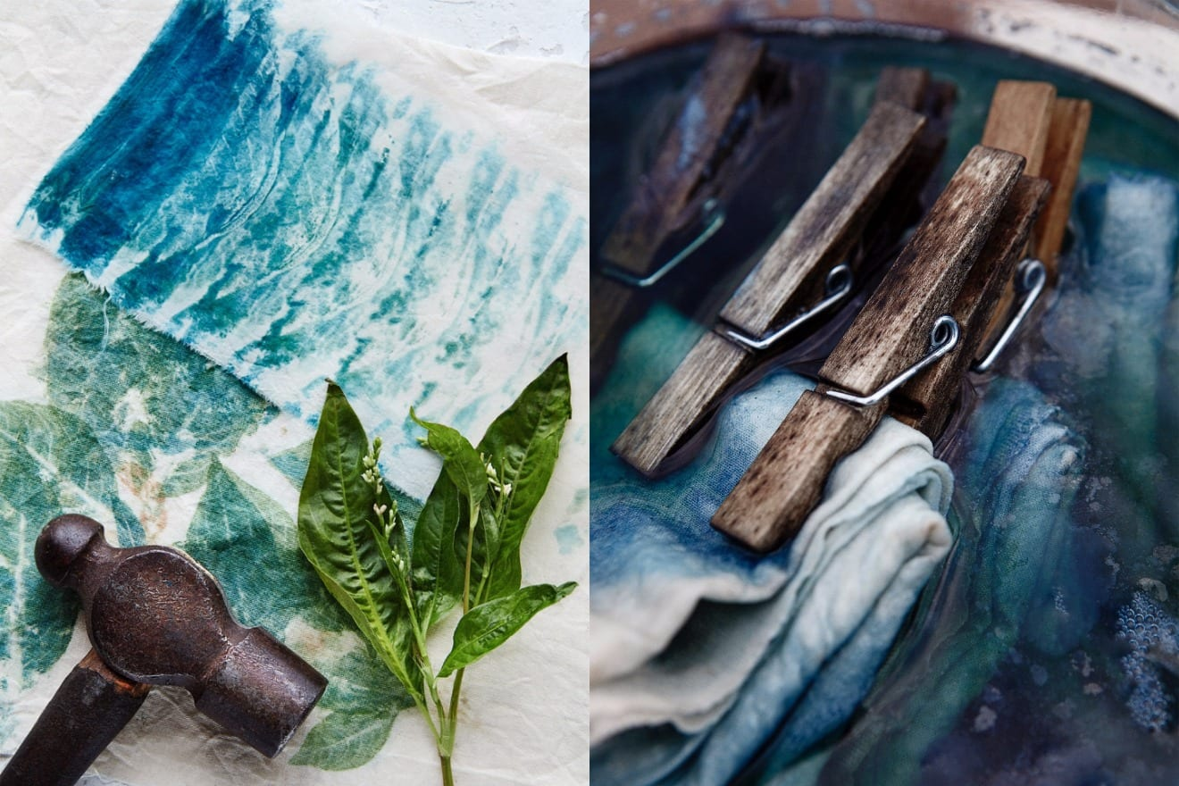 Indigo dyeing (collage)