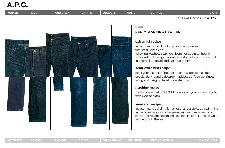 A.P.C. jeans wash recipes