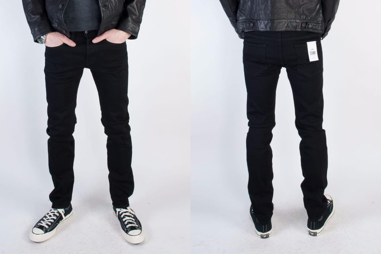 Edwin Europe ED-80 black stretch selvedge denim fit front and back