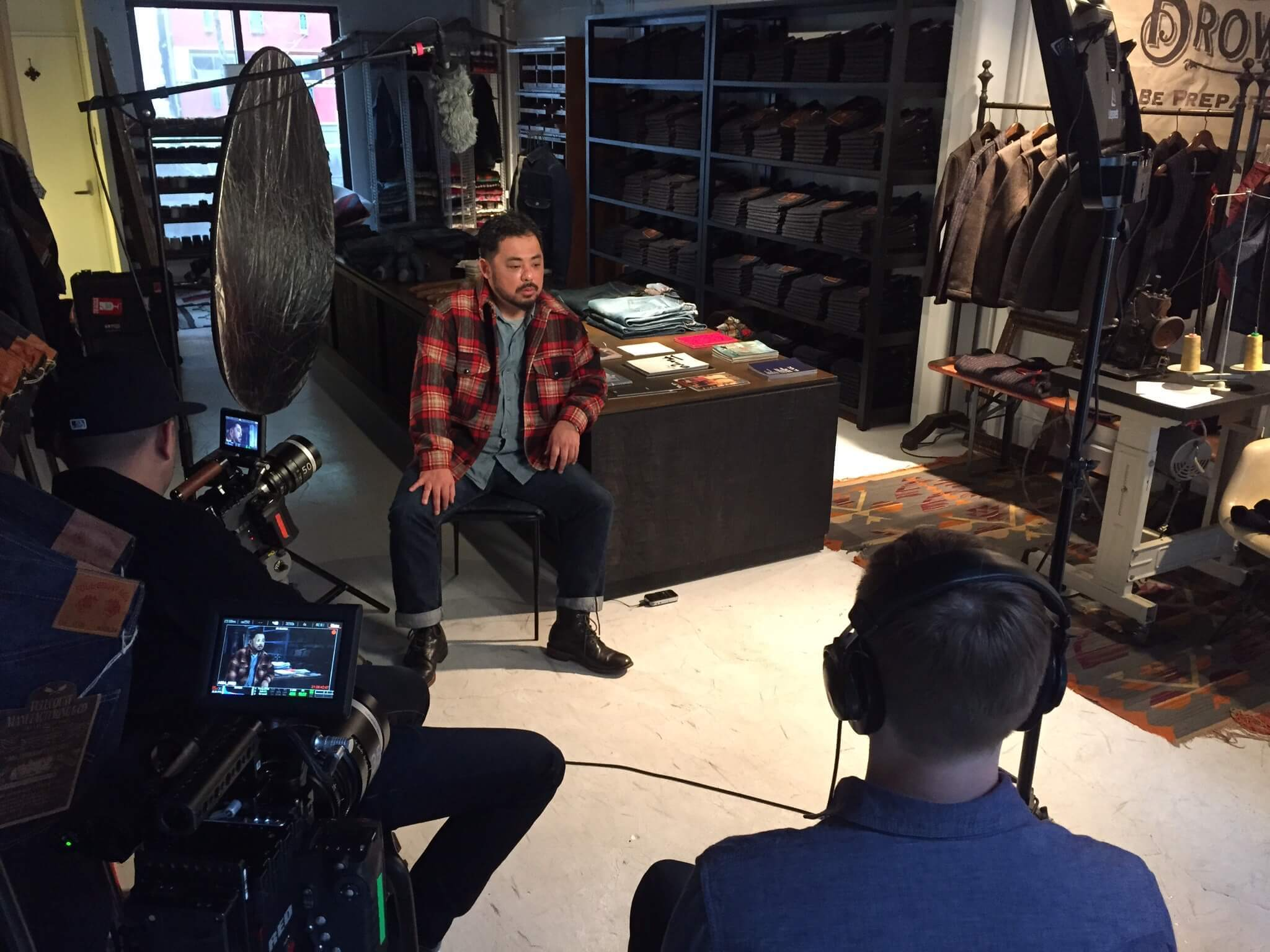 Founder of Fullcount, Mikiharu Tsujita, being interviewed for Weaving Shibusa