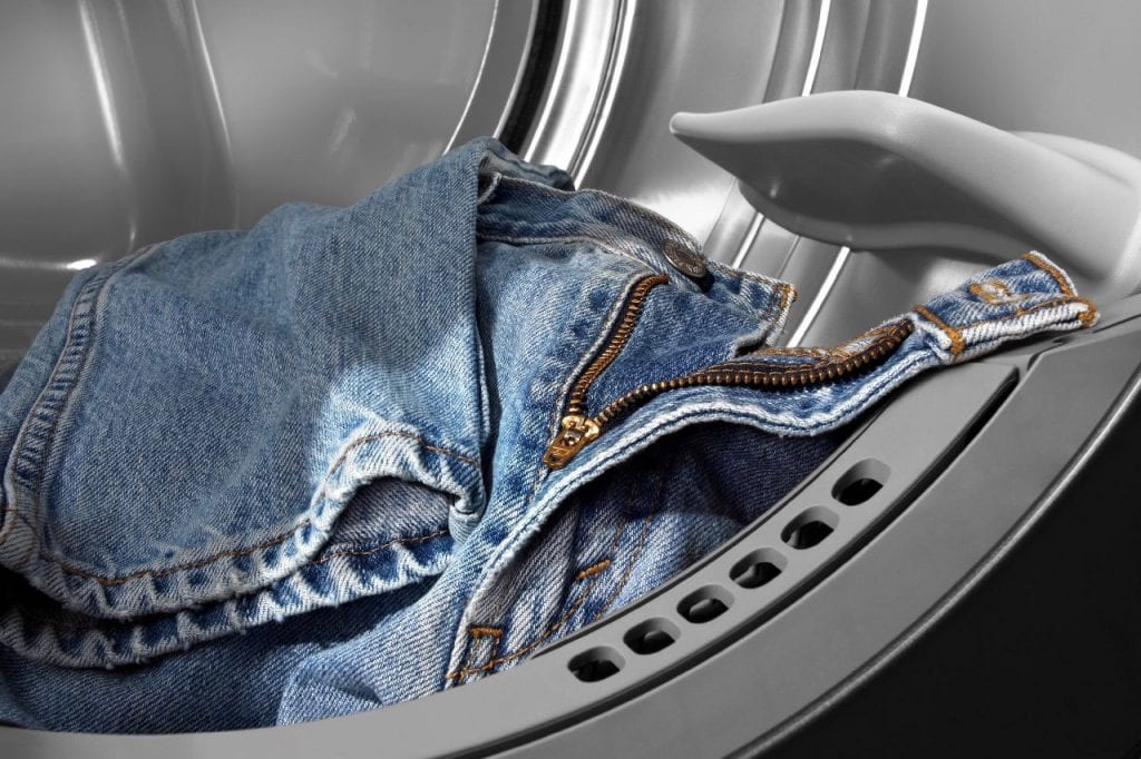 Tumble drying jeans