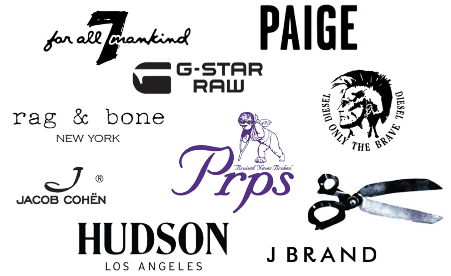 Premium jeans brands - 7 For All Mankind, Paige, G-Star Raw, Jacob Cohen, Rag & Bone, PRPS, Diesel, J Brand, Denham, Hudson