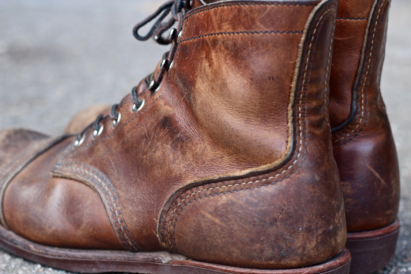 The Amber Harness leather of Red Wing Iron Ranger 8111 is full grain