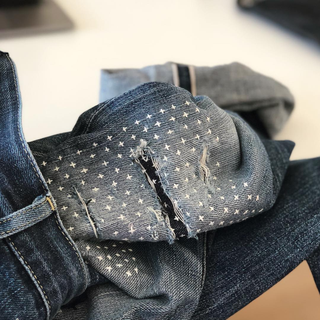 Denimhunters, Blue Blooded, Instagrammer, Sashiko Denim by Pey, sashiko, denim repairs, hand-stitched