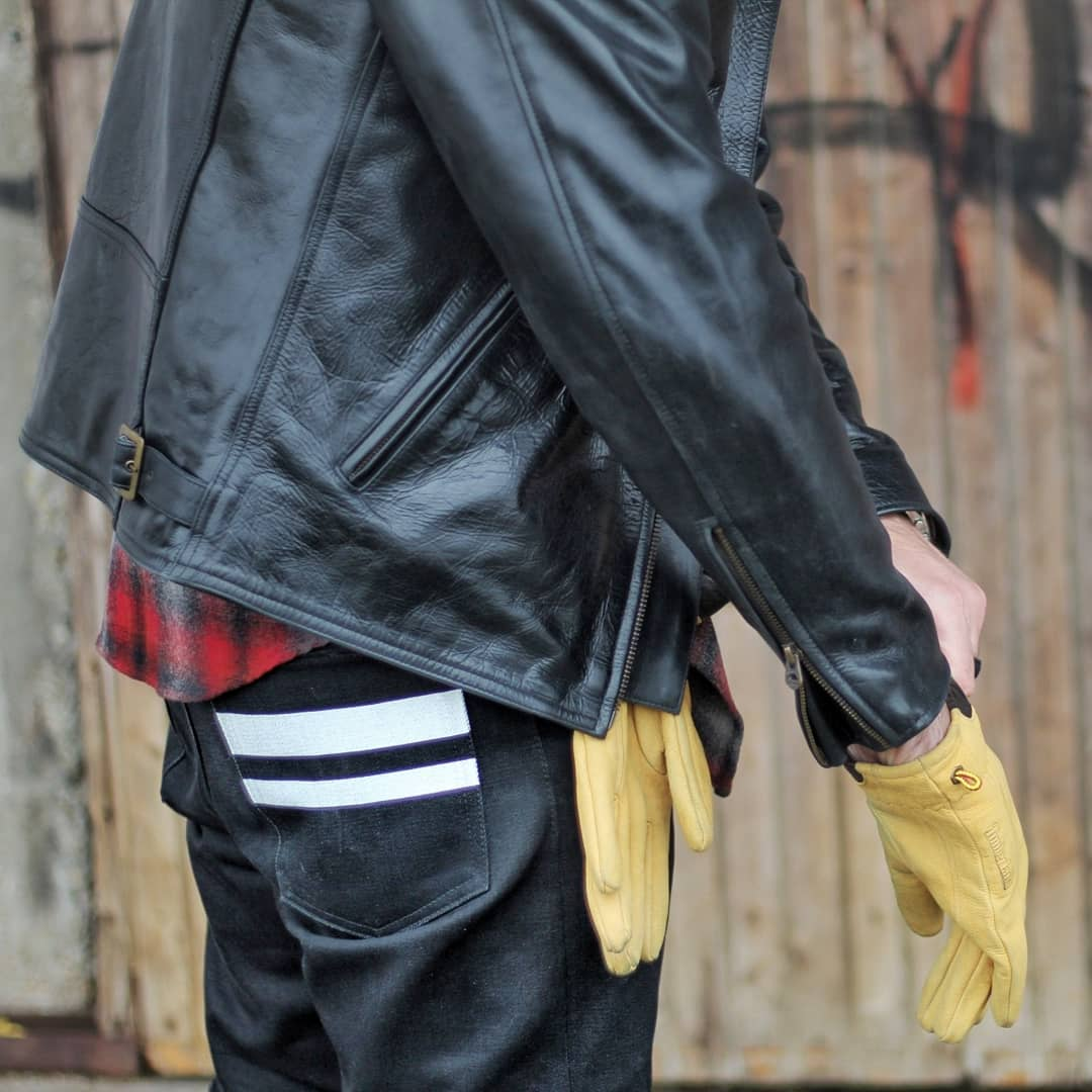 Blue Blooded, Instagrammer, saschgtb, Denimhunters, Momotaro, Going to Battle, yellow leather gloves, black leather jacket