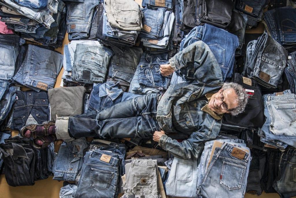 Ruedi Karrer in the Jeans Museum.