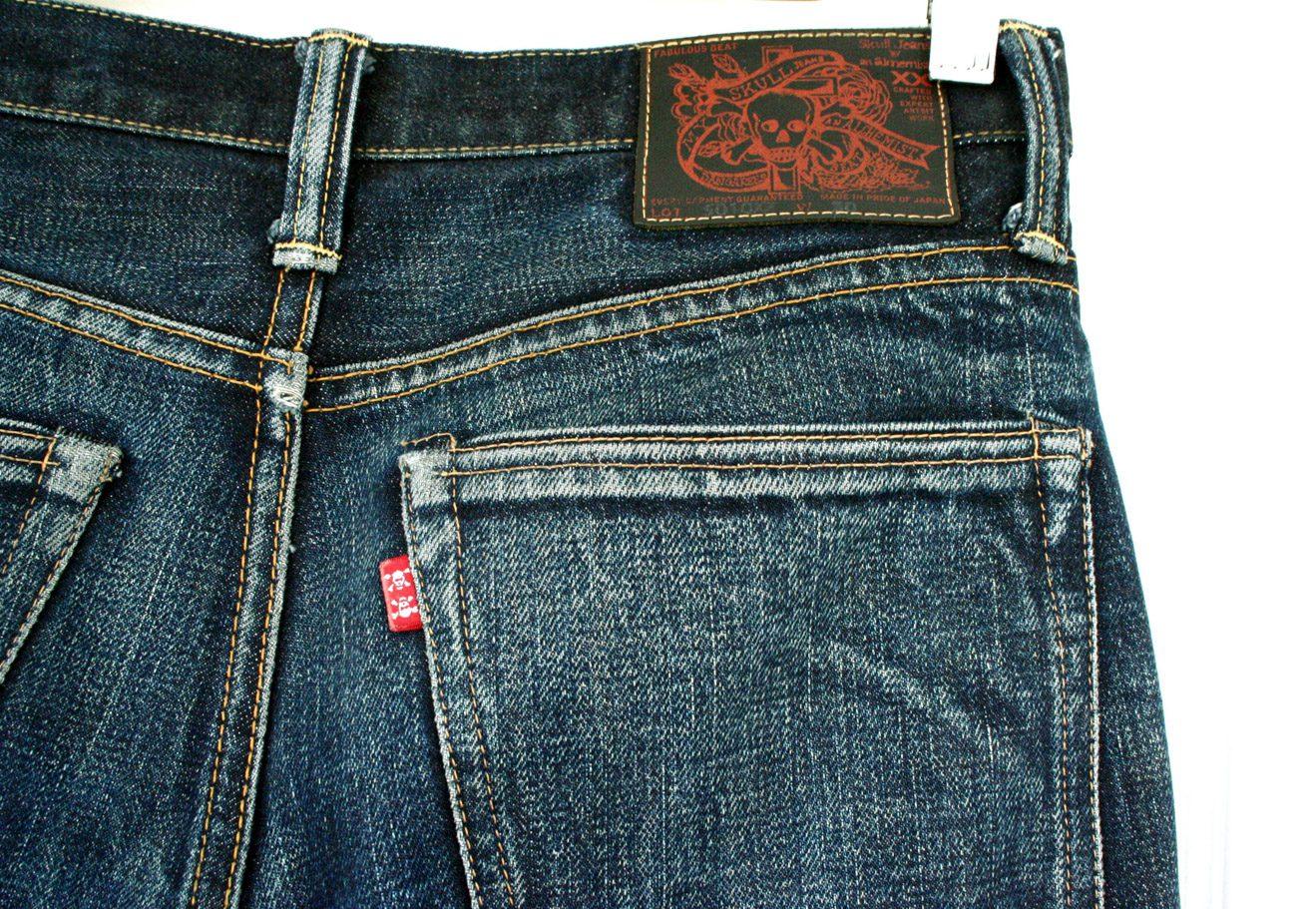 Skull jeans, red tab, Japanese jeans, selvedge denim, denim fades,