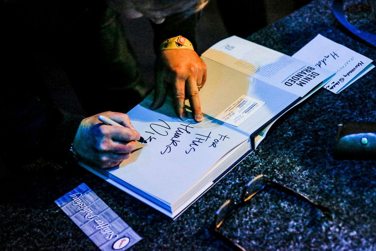 Nick Williams, Denim Branded, signing the book,