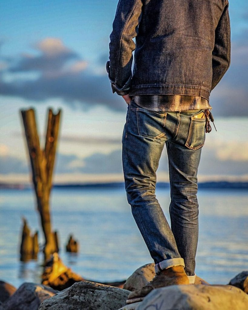 Blue Blooded, Instagrammer, selvedgewings, raw denim, faded denim, flannel shirt, denim jacket,